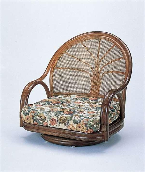 【送料無料】 ワイド回転座椅子ロータイプ S-3003Bブラウン 籐 籐家具 座椅子 椅子 イス 回転式 和風リビングルーム籐ラタン製 輸入品 完成品 【smtb-MS】