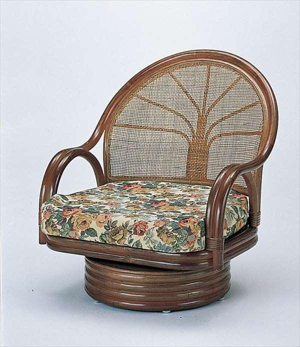 【送料無料】 ワイド回転座椅子ミドルタイプ S-3004Bブラウン 籐 籐家具 座椅子 椅子 イス 回転式 和風リビングルーム籐ラタン製 輸入品 完成品 【smtb-MS】