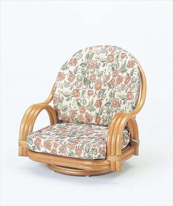【送料無料】 回転座椅子ロータイプ S-5510ライトブラウン 籐 籐家具 座椅子 椅子 イス 回転式 和風リビングルーム籐ラタン製 輸入品 完成品 【smtb-MS】