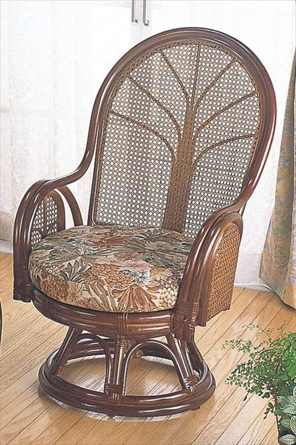 【送料無料】 ラウンドチェア ハイタイプ TK-901 ブラウン 籐 籐家具 座椅子 椅子 イス 回転式 アジアンリビングルーム籐ラタン製 輸入品 完成品 【smtb-MS】