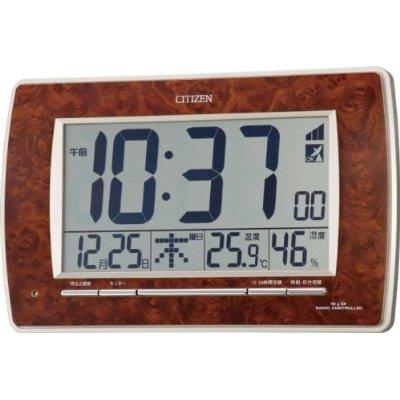 最大20% 【電波時計 掛け時計 クロック カレンダー 温湿度表示 デジタル】 パルデジットR082 8RZ082-023 木目調 シチズン CITIZEN 【お取り寄せ】  【02P03Dec16】
