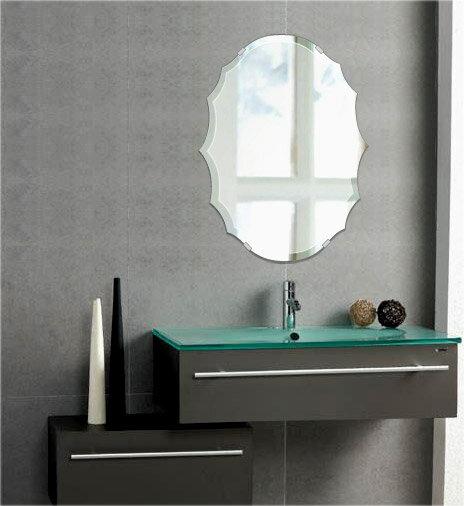 トイレ鏡 洗面鏡 化粧鏡 浴室鏡 クリスタルミラー シリーズ クリアーミラー デラックスカットタイプ  クレスト(Crest):cdx-crest400x533-18mm( 鏡 壁掛け 鏡 姿見 壁掛けミラー ウォールミラー )
