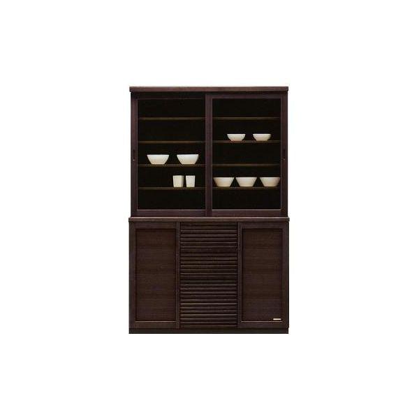 120 食器棚 キッチンボード ダイニングボード キッチン収納 キャビネット カップボード 木製 国産 完成品 ダークブラウン 北欧