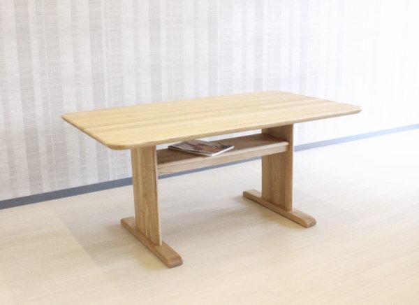 天然木ウォールナット&ナラ無垢材使用食卓テーブル岩倉榮利プロデュースの洗練されたモダンなデザインセラウッド塗装・ダイニングテーブルYUZU/ROSEMARYW150xD85cm中棚付き天板厚35mm無垢材組み立てT字脚