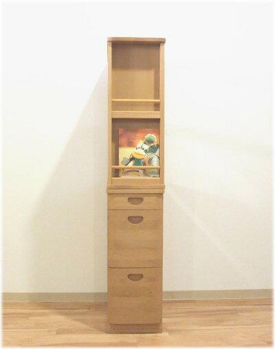 【送料無料】天然木アルダー無垢材使用のキャビネット『木の机』本立て・本棚・収納・チェスト・国産・日本製木製オイル塗装エコ仕様ヒノキ材2段重ね