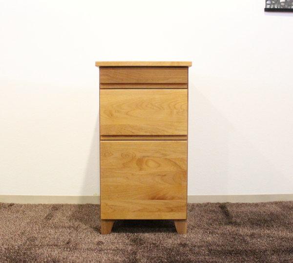 天然木アルダー無垢材を贅沢に使用したワゴン38cmデスクワゴン・チェスト・ナチュラル&ウォールナット