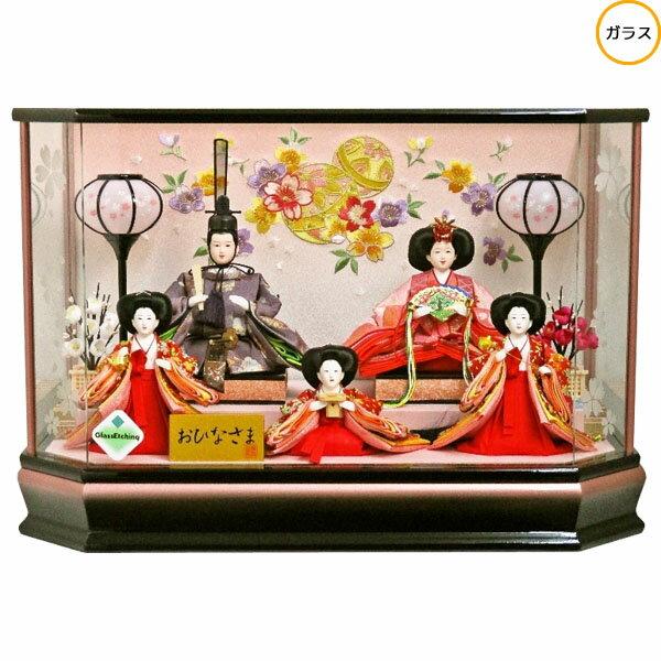 雛人形 ひな人形 衣装着人形 ガラスケース五人飾り 五人ケース飾り 17-5-66 送料無料