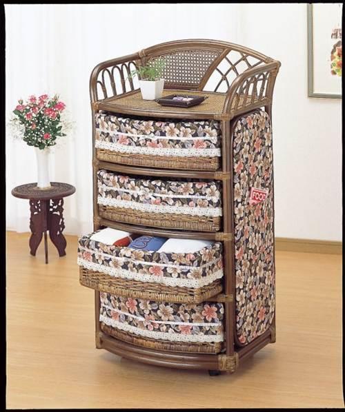 お部屋に花を咲かせましょう。 ランドリー 収納家具 ランドリーチェスト ランドリーラック 籐製 ラタン 送料無料