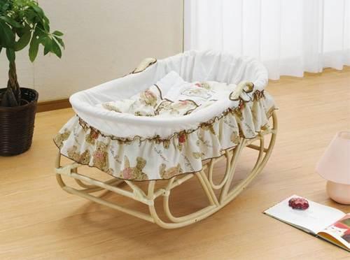 ゆりかご ヨーラン ベビーベッド 揺りかご 軽くて持ち運べるヨーランで、赤ちゃんはいつもママのそばに 藤ヨーラン 布団セット付 籐製 ラタン 送料無料