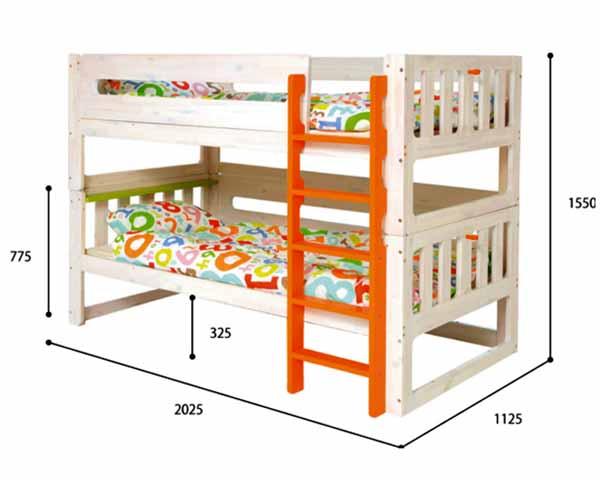 キッズ二段ベッド ベビー二段ベッド シングルベッドにもできる 赤ちゃん キッズ ホワイト いいこ柵 子供ベッド 子供用 天然木 木製 パイン集成材 ナチュラル・オレンジ・グリーン 送料無料 人気アイテム