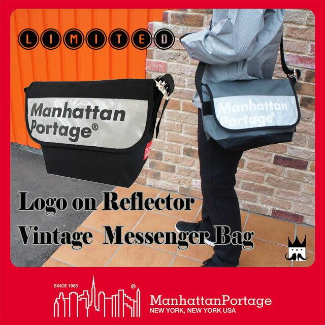 Manhattan Portage マンハッタンポーテージ バッグ メンズ レディース  MP1606V-JR-REF-L ロゴオン リフレクター ビンテージ メッセンジャーバッグ 反射 ナイロン ショルダー 斜め掛け A4 通学 通勤 evid