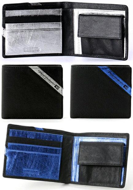 DIESEL ディーゼル小銭入れ付き二つ折り財布スラッシュラインロゴブラック シルバー メタルブルーさいふ サイフ ウォレット パースメンズハイレッシュスモールINDUSTRY LINE UP HIRESH S wallet