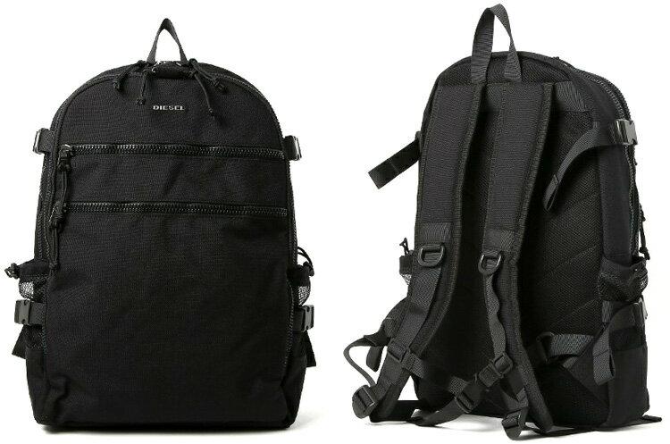 DIESEL ディーゼル メタルロゴリュックサック デイパッグダブルフロントファスナー耐久性の高いブラックコーデュラナイロン素材タウンユースバックパックURBHANITY F- URBHANITY BACK BACKPACKかばん バック 鞄 カバン