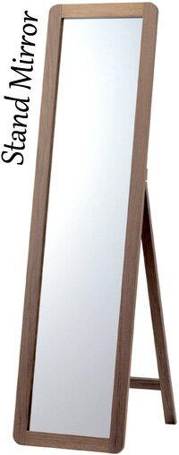 天然木フレームスタンドミラー木製フレーム ダークブラウン トラスレッグI3600-WN B3601-NA ウォールナット ダークブラウンインテリアに馴染み易いウッドフレーム カーブドエッジ