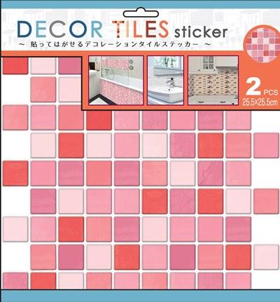 デコタイルステッカー キッチン、洗面所、トイレなどを簡単にアレンジ♪貼るだけでタイル調デコレーション スクエア ピンク ITLA006(2シート×6セット)[送料無料]