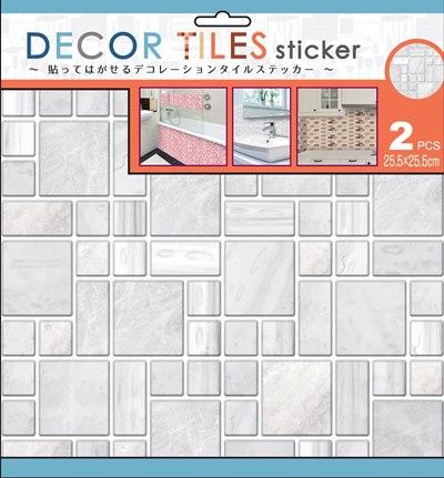 デコタイルステッカー キッチン、洗面所、トイレなどを簡単にアレンジ♪貼るだけでタイル調デコレーション ミックス ホワイト ITLA010(2シート×6セット)[送料無料]