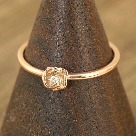 フェミニンなバラ&ダイヤモンドの憧れリング レディース リング ダイヤモンド 10金ピンクゴールド(K10 PG) ギフト プレゼント ジュエリー