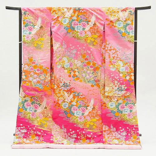 色打掛レンタルフルセット「ピンク織打花園」和装 打掛 色打掛レンタル 結婚式 お色直し ピンク 前撮り 婚礼写真 往復送料無料