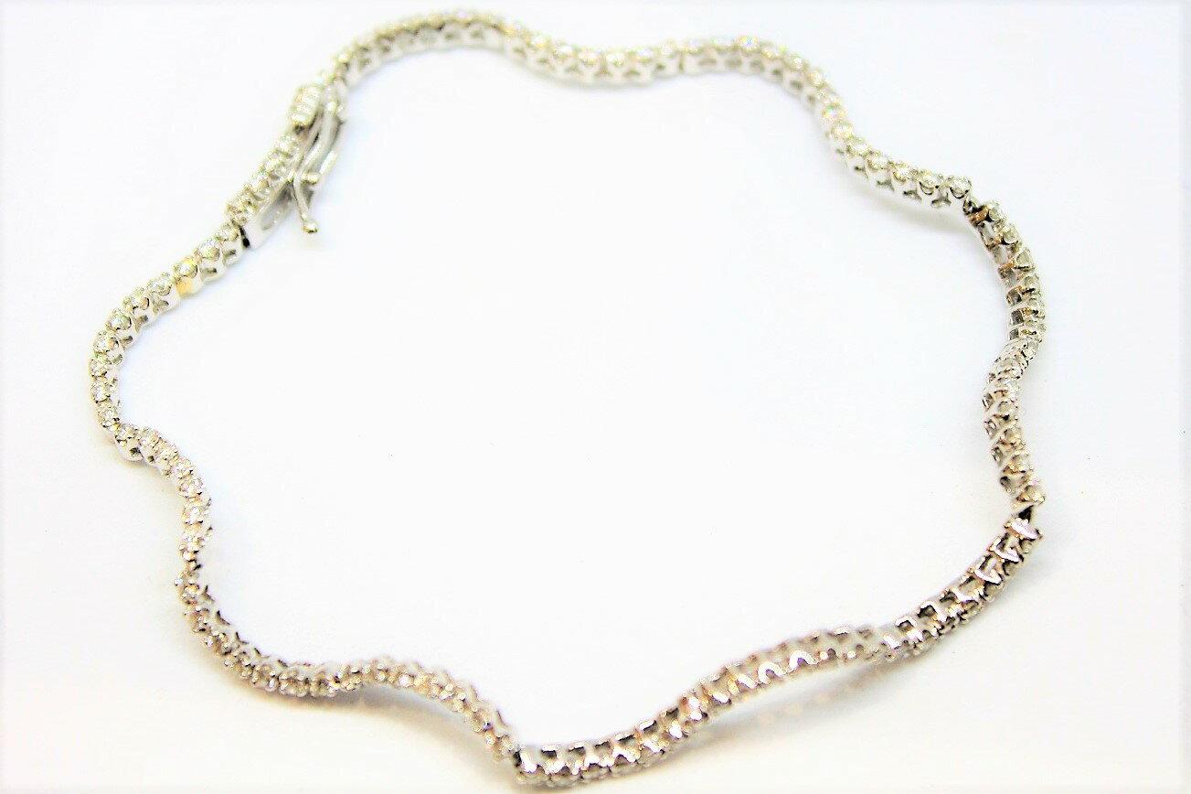 【ブレスレット】ダイヤモンド ブレスダイヤ K18WG ホワイトゴールドD1.00ct 大人 シンプル 華奢キレイ 上品 ジュエリー 宝石プレゼントにいかがですか?ギフト包装可 【中古】