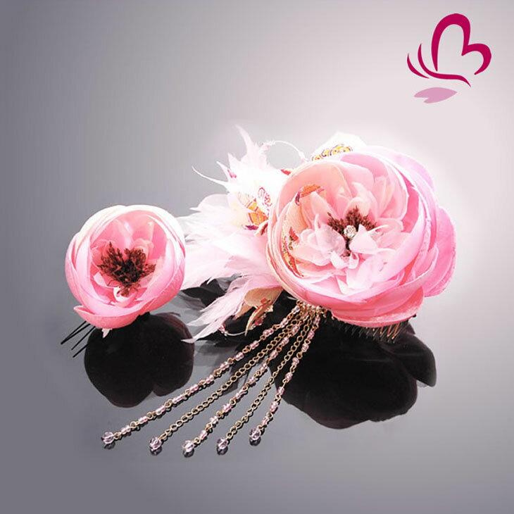 【振袖 髪飾り 成人式】 花かんざし2点セット ピンク 桃色 【卒業式の袴 和装の結婚式 七五三や浴衣、着物に】