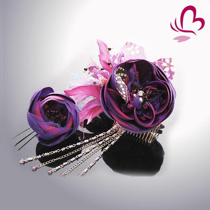 【髪飾り 成人式 振り袖】 花かんざし2点セット 紫  【卒業式の袴 和装の結婚式 七五三や浴衣、着物に】