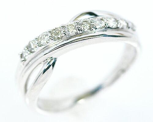 K18WG 0.3ct ダイヤモンド10ストーンリング