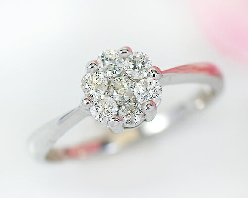 K18WG 0.3ct ダイヤモンド7ストーンリング