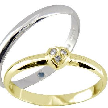 [送料無料]結婚指輪 ペアリング マリッジリング ダイヤ ダイヤモンド ハート イエローゴールドk18 ホワイトゴールドk18 2本セット 甲丸18k 18金【楽ギフ_包装】0824楽天カード分割【コンビニ受取対応商品】