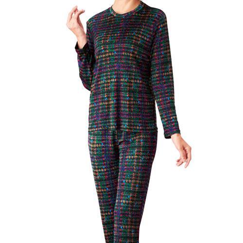 エトワール シルクパジャマ 巾着付 チェック柄 M-L  絹100%  202-303