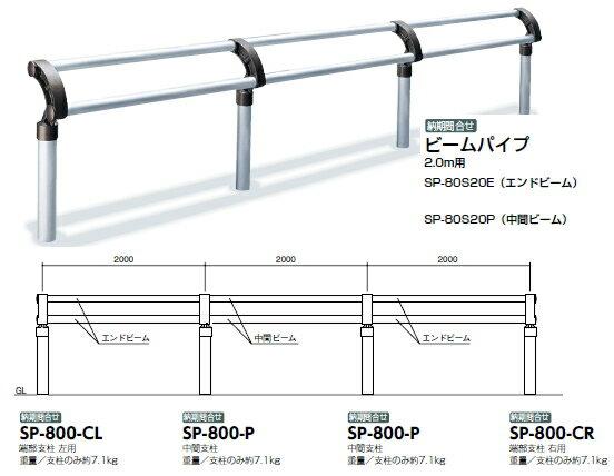 サンポール サポーター 横断防止柵タイプ 端部支柱 左用 SP-800-CL【※代引き不可】