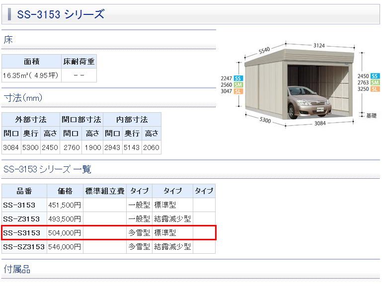 *タクボ物置 ベルフォーマ/オーバースライド扉多雪型・標準型/SS-S3153(独立型)