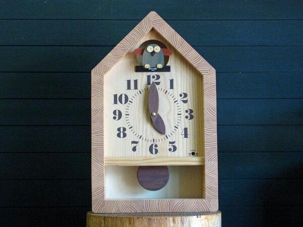 【New!!】「キコリの時計」 木の振子時計 【森のフクロウ時計(白木)】