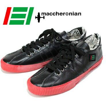 maccherronian(マカロニアン) レザースニーカー ブラック×レッド[送料無料]