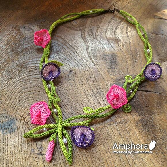 イーネ・オヤ刺繍針で作る繊細なレースネックレス/アサガオの花