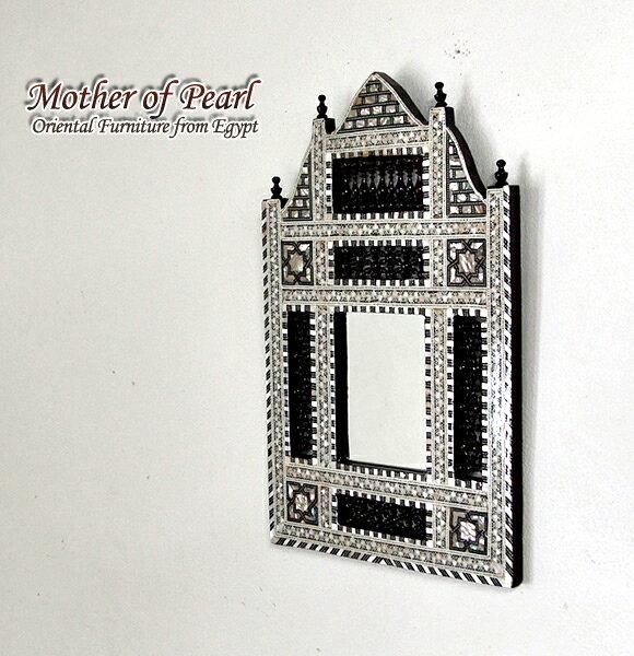 Mother of Pearl エジプト螺鈿の工芸家具・壁掛けミラー・Sサイズ<象嵌イスラム芸術・美術品・工芸品・イスラム建築・エジプト>