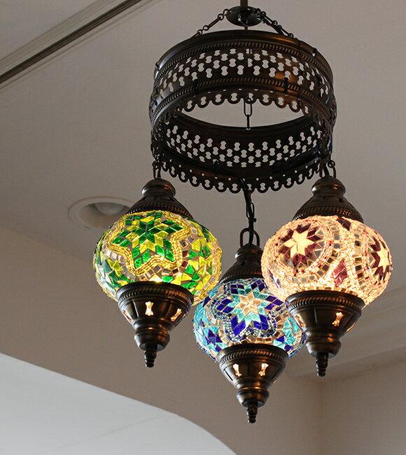 トルコランプ/モザイクガラスランプシャンデリア3灯並列・ブルー・グリーン・パープル/E17・15W×3灯