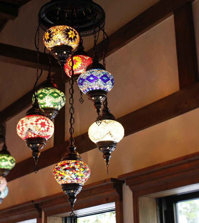 トルコランプ/シャンデリア・モザイクランプ7灯段違い・カラフル・店舗照明・大型照明