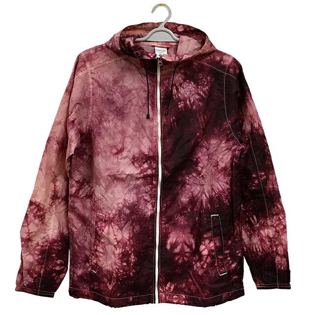ナイロンフルジップジャケット[カラー:バーガンディ]ムラ 染め パーカー ウィンドブレーカー