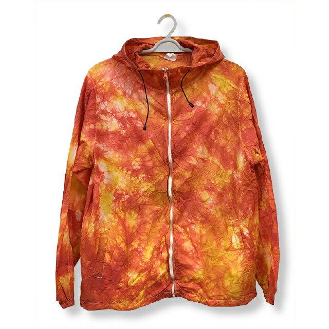 ナイロンフルジップジャケット[カラー:イエロー + レッド]ムラ 染め パーカーウィンドブレーカー