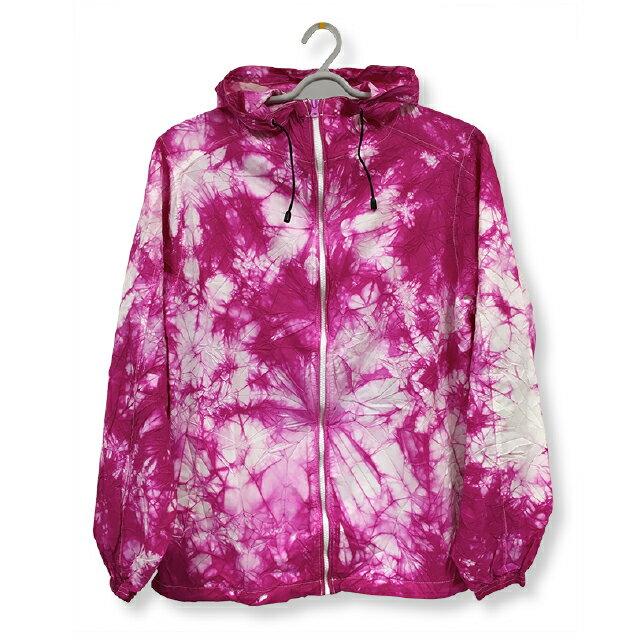 ナイロンフルジップジャケット[カラー:ピンク]ムラ 染め パーカーウィンドブレーカー