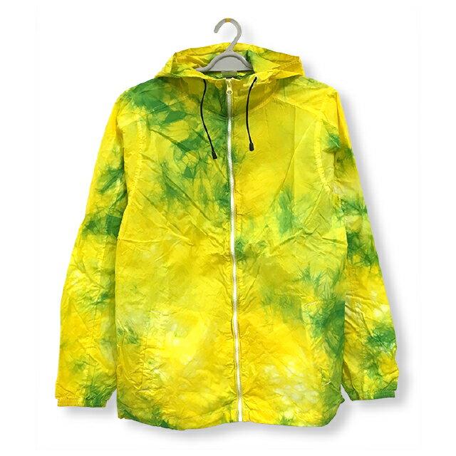 ナイロンフルジップジャケット[カラー:イエロー + グリーン]ムラ 染め パーカーウィンドブレーカー