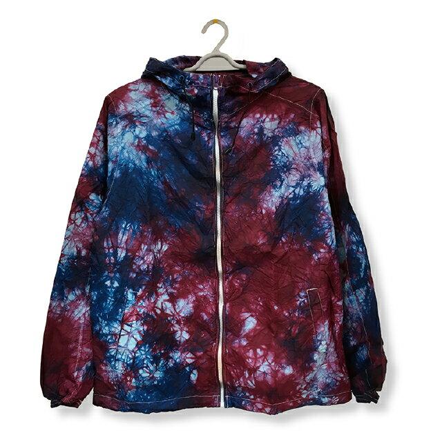 ナイロンフルジップジャケット[カラー:ブルー + レッド]ムラ 染め パーカーウィンドブレーカー