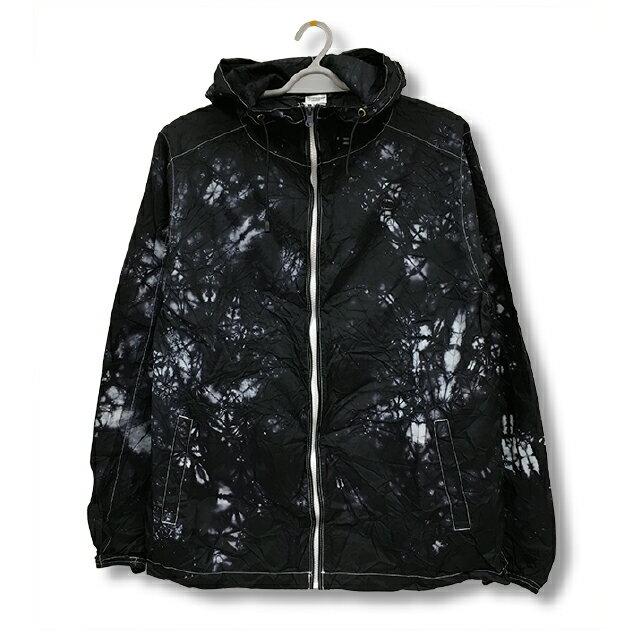ナイロンフルジップジャケット[カラー:ブラック + ホワイト 2]ムラ 染め パーカーウィンドブレーカー