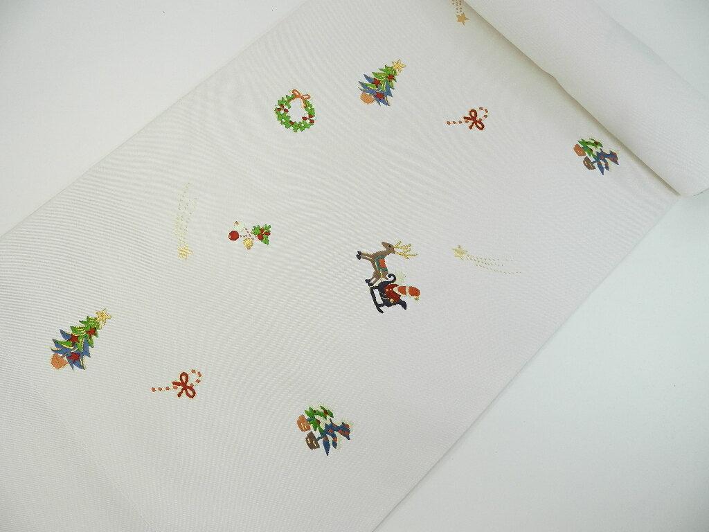 正絹 京都西陣 名古屋帯限定販売芯入れ仕立て代無料セールクリスマス柄の名古屋帯地色はクリームホワイト
