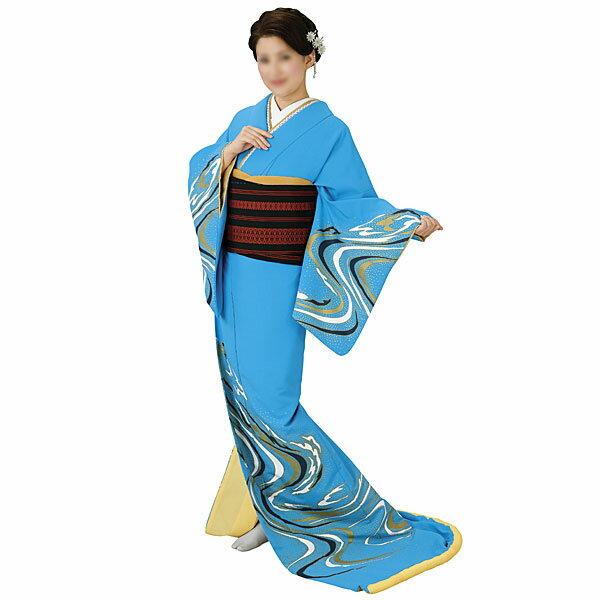 【送料無料】踊り衣装 高級裾引衣装ブルー・流水 姿-5364wco-5364-p46 10P18Jun16