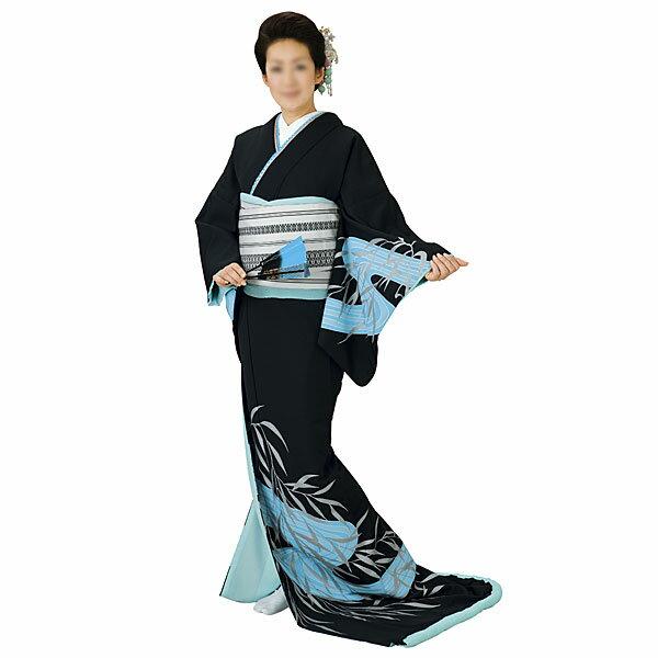 【送料無料】踊り衣装 高級裾引衣装黒地・水色流水 姿-5365wco-5365-p46 10P18Jun16