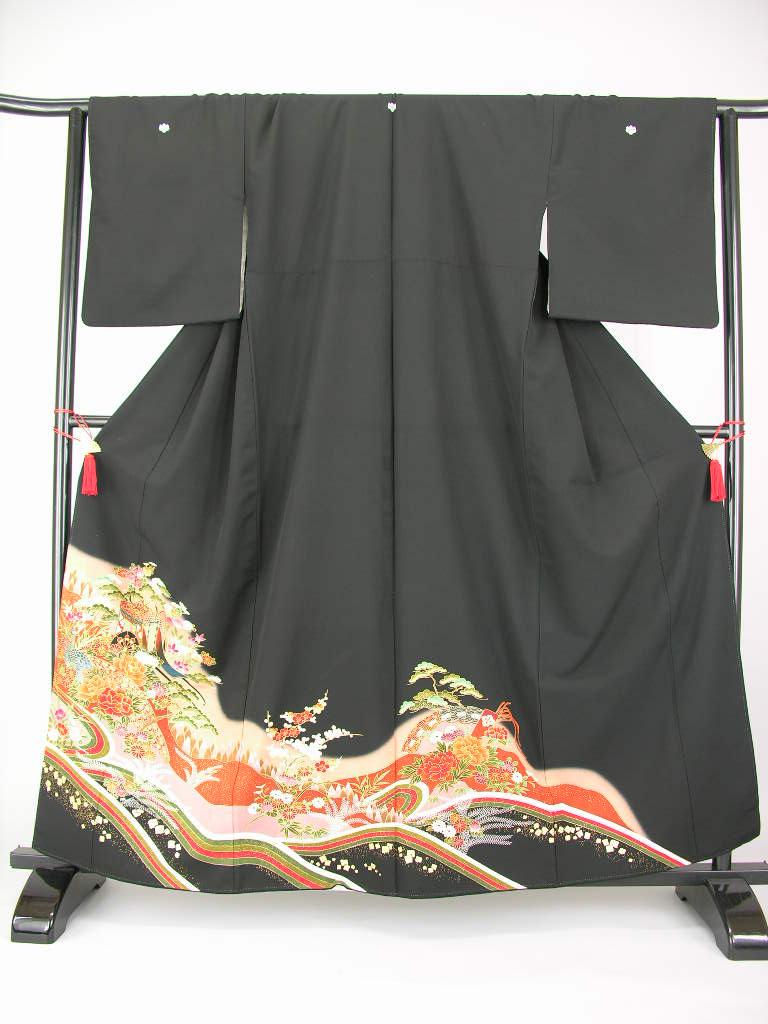 fy16REN07LLサイズ大きめウエディング 参列女性 着物 和服 正装江戸妻 留め袖とめそで 留袖再安値 激安和服 結婚式 婚礼きもの 着物貸衣裳・貸衣装往復 送料無料黒留袖レンタル ワイドLL 131・18点セット