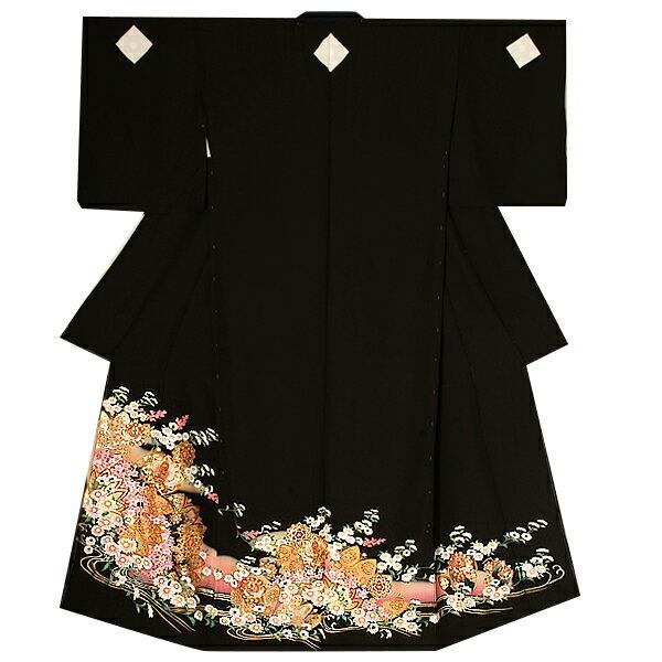 未仕立て 黒留袖単品「菊花に華文、鳳凰」本金箔使用 フォーマル 正絹黒留袖  <T>【メール便不可】