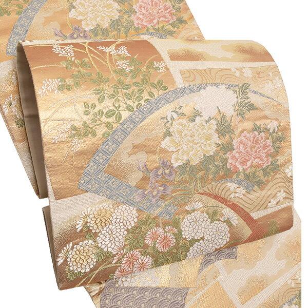 礼装 袋帯「扇面、色紙に草花」未仕立て 正絹帯 礼装帯 フォーマル <T>【メール便不可】