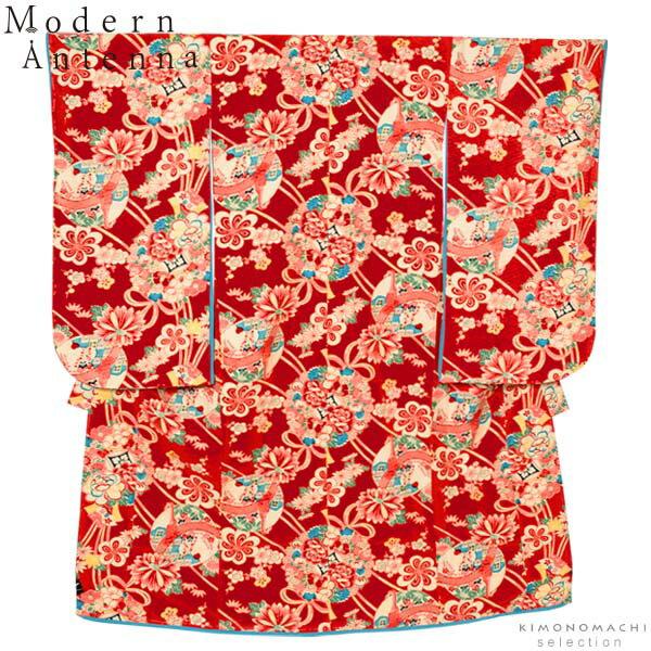 七五三 四つ身着物単品「赤色 薬玉」モダンアンテナ こども着物 7歳向け 子供着物 (D-1)<H>【メール便不可】